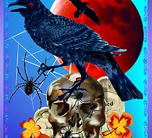 Black Raven-Red Moon Poster by Lotacats