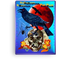 Black Raven-Red Moon Poster Canvas Print