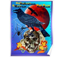 Black Raven-Red Moon Poster Poster