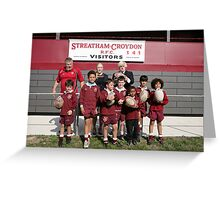 Boris Johnson poses with kids at streatham-croydon R.F.C. Greeting Card