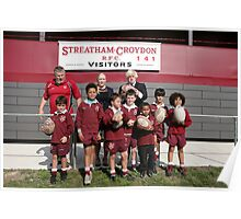 Boris Johnson poses with kids at streatham-croydon R.F.C. Poster