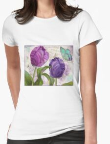 Purple Parrot Tulips Womens Fitted T-Shirt