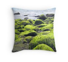 Rocks covered by green seaweed by the seaside. Throw Pillow