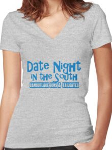 Date Night in the South Camoflouge Guns Tailgates Blue Women's Fitted V-Neck T-Shirt