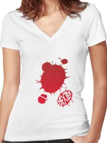 Dexter Blood Logo Women's Fitted V-Neck T-Shirt