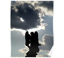 Angel statue silhouetted against stormy sky. Poster