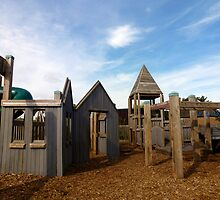 Kids' wooden adventure playground. by Colin Tester