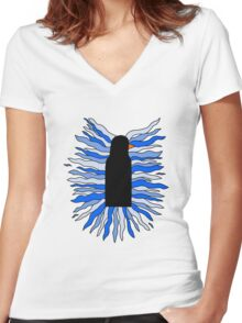 The Black Penguin Women's Fitted V-Neck T-Shirt