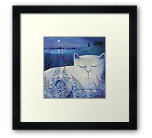 Blind white cat on a moonlit night. Framed Print