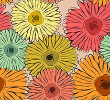 Colorful vintage abstract sunflower by silvianna