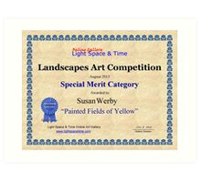 """Special Merit Category-Landscapes Art Competition-""""Painted Fields of Yellow"""" Art Print"""