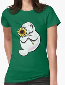 Sunny Manatee Womens Fitted T-Shirt