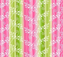 Green and pink floral pattern with stripes by silvianna