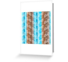Brown and blue floral pattern with stripes Greeting Card