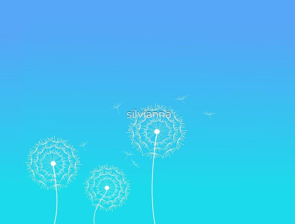 Blue dandelion in spring by silvianna