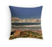 Woman and Dog on Beach Throw Pillow