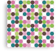 Pink green polka dots Canvas Print