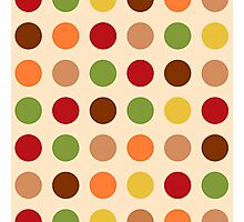 Cute red green brown polka dots Photographic Print