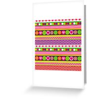 Colorful abstract pattern with flowers hearts and dots Greeting Card