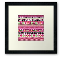 Colorful abstract zebra hearts and dots pattern Framed Print