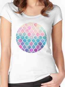 Rainbow Pastel Watercolor Moroccan Pattern Women's Fitted Scoop T-Shirt