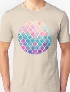 Rainbow Pastel Watercolor Moroccan Pattern Unisex T-Shirt