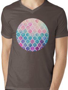Rainbow Pastel Watercolor Moroccan Pattern Mens V-Neck T-Shirt