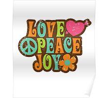 1970s Vintage Retro Style Love Peace Joy T-Shirt Poster