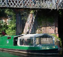 Green Barge under Bridge by Paul Stevens