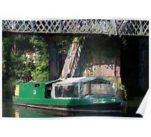 Green Barge under Bridge Poster