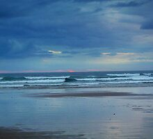 Waves roll in at sunset - Ocean Beach by imaginethis