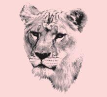 Lioness. Female Lion. Digital Wildlife Engraving Image One Piece - Long Sleeve
