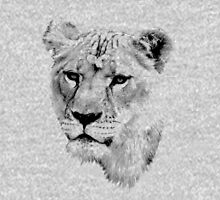 Lioness. Female Lion. Digital Wildlife Engraving Image Womens Fitted T-Shirt