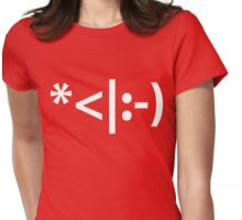 Christmas Elf Emoticon Womens Fitted T-Shirt