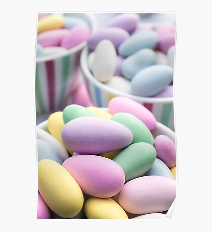 Colorful Jordan Almond Candy Buffet Poster