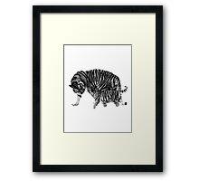 Playful Tigers. Mother and Cub. Wildlife Digital Engraving Image Framed Print