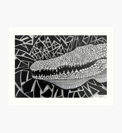 247 - CROCODILE - DAVE EDWARDS - INK - 2013 Art Print