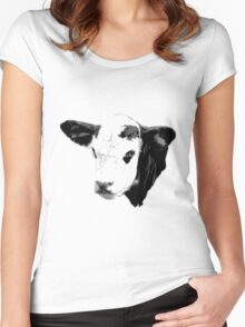 Cow Digital Engraving. Farm Animal Prints and Images Women's Fitted Scoop T-Shirt