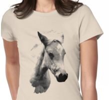 Horse Face and Head. Digital Farm Animal Engraving Image Womens Fitted T-Shirt
