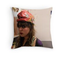 The Model in the Paper Maché Hat Throw Pillow