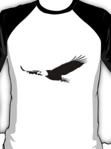 Soaring Bald Eagle. Bald Eagle In Flight. Wildlife Digital Engraving Image. T-Shirt
