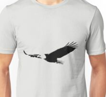 Soaring Bald Eagle. Bald Eagle In Flight. Wildlife Digital Engraving Image. Unisex T-Shirt
