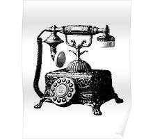 Antique Telephone. Digital Antique Engraving Image Poster
