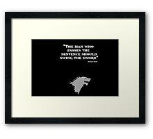 Game of Thrones - House Stark - Eddard Stark Framed Print