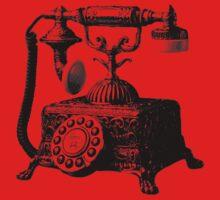 Antique Telephone. Digital Antique Engraving Image One Piece - Short Sleeve
