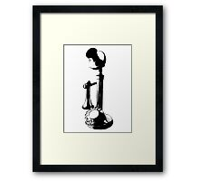 Antique Candlestick Telephone. Antique Digital Engraving Vintage Image. Framed Print