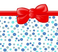 Dots Spots, Ribbon and Bow, Blue White Red by sitnica