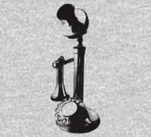 Antique Candlestick Telephone. Antique Digital Engraving Vintage Image. Kids Tee