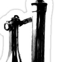 Antique Candlestick Telephone. Antique Digital Engraving Vintage Image. Sticker