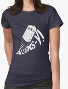 """Allons-y !"" - The Doctor (White Edition) Womens Fitted T-Shirt"